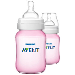 AVENT Classic 260ml 2pc Bottles Pink