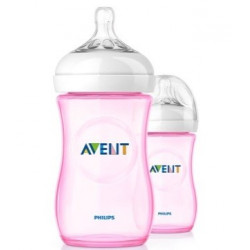 Avent Natural 260ml 2pc bottle Pink