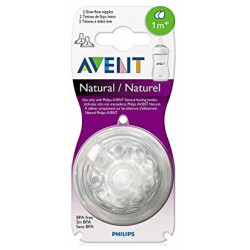 Avent Natural Slow Flow Teats 2 Pack 1M+