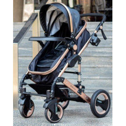 Belecoo 2 in 1 Luxury Stroller Rose Gold & Black Leather