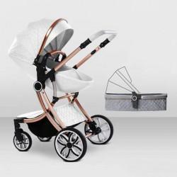 Egg Shell Baby Pram Stroller 2 in 1 White