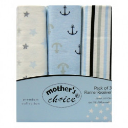 Mothers Choice 3pc receiving blankets sailor