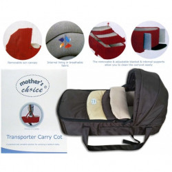 Mothers Choice transporter carry cot coffee