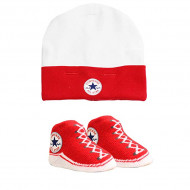 Converse Bootie Socks & Hat Set Red