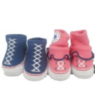 Converse Baby Chuck Taylor Sock Booties 2 Pack Pink and Navy