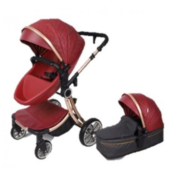 Egg Shell Baby Pram Stroller 2 in 1 Maroon