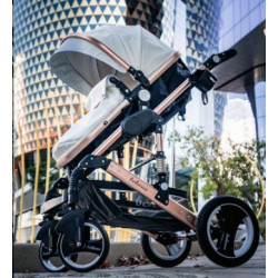 Belecoo 2 in 1 Luxury Stroller Rose Gold & White Leather