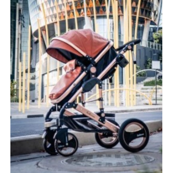 Belecoo 2 in 1 Luxury Stroller Rose Gold & Brown Leather