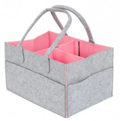 Foldable Baby Diaper Caddy Organizer Grey & Pink