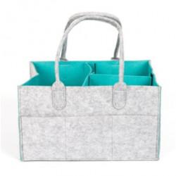 Foldable Baby Diaper Caddy Organizer Grey & Blue