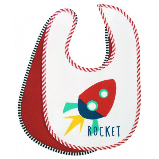 Mothers Choice Cotton Knitted Bibs 2 Pack Rocket