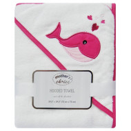 MOTHERS CHOICE HOODED TOWEL PINK WHALE