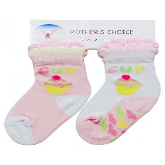 MOTHERS CHOICE GIRLS 2 PACK SOCKS CUP CAKE