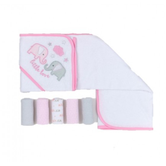 Mothers Choice Hooded Towel With 5 Facecloths Elie