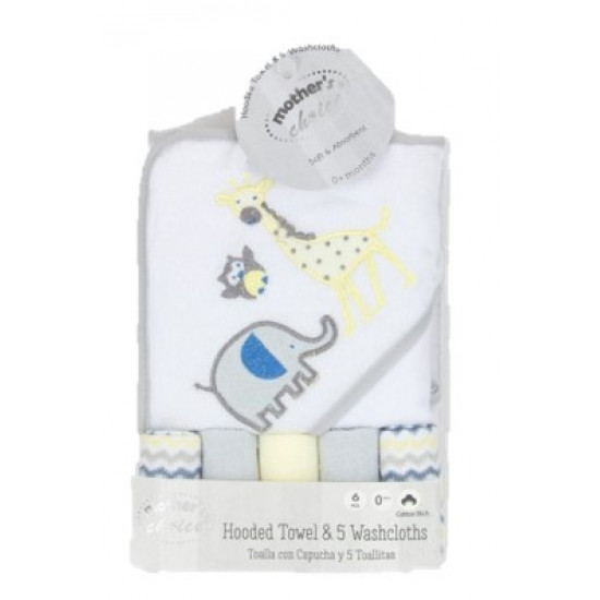 Mother Choice Hooded Towel With 5 Facecloths Giraffe