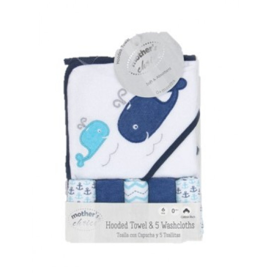 Mothers Choice Hooded Towel With 5 Facecloths Whale