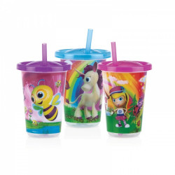 Nuby 3 Pack Cup & Straw Assorted Girls