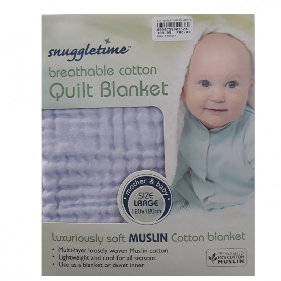 Snuggletime Breathable Cotton Quilt Blue