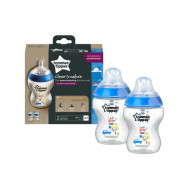 Tommee Tippee 260ml Bottle 2 Pk Blue Decorated