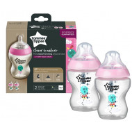 Tommee Tippee 260ml Bottle 2 Pk Pink Decorated