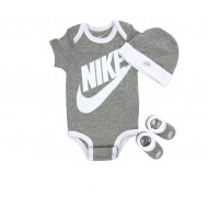 NIKE BABY GREY 3 PIECE INFANT SET FUTURA GREY